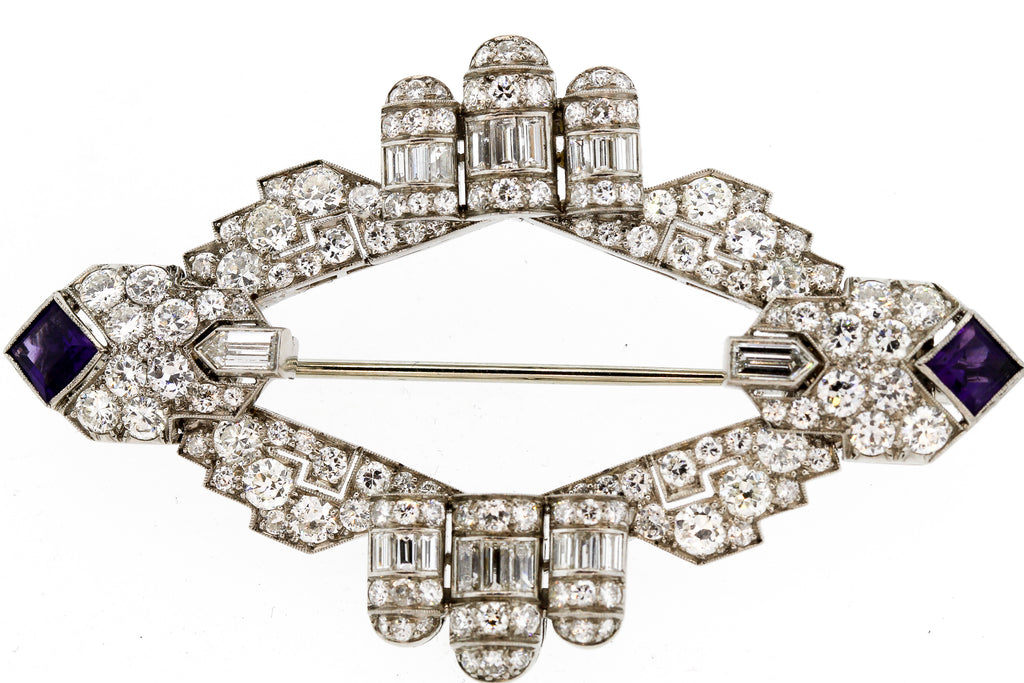 Rare Expandable Art Deco Platinum Diamond Amethyst Brooch