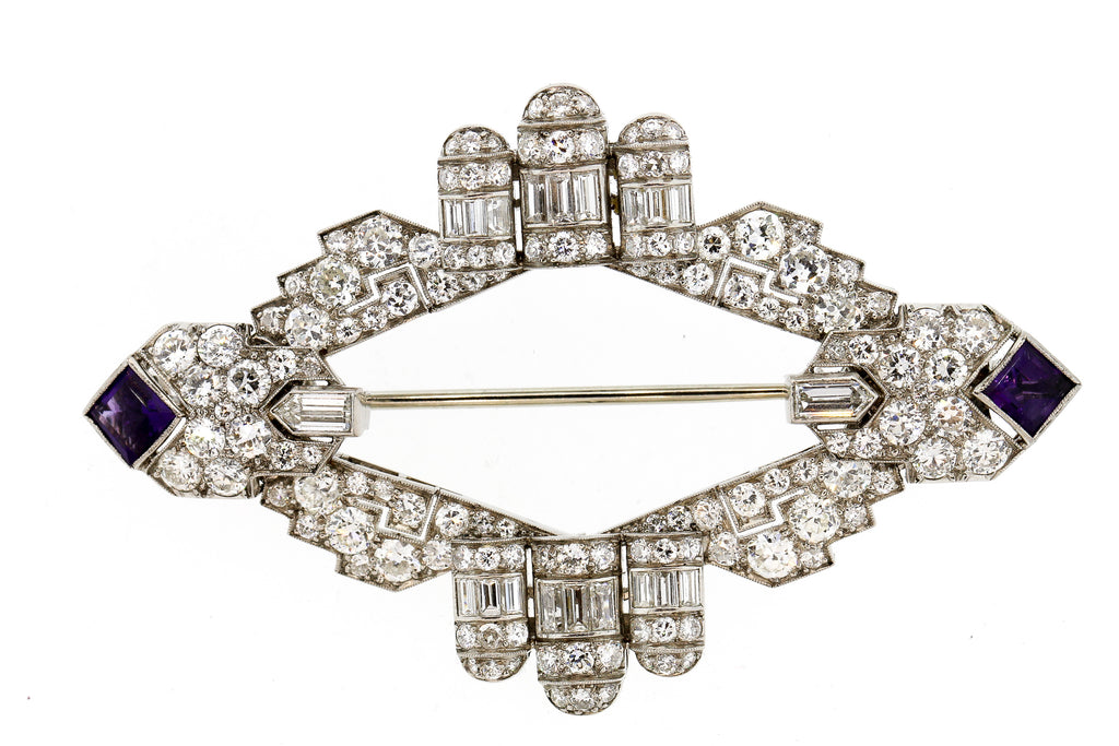 Antique Art Deco Platinum Diamond Amethyst Moveable Brooch