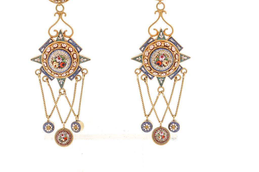 Antique Early 20th Century Micromosaic 14k Gold Pendant Earrings