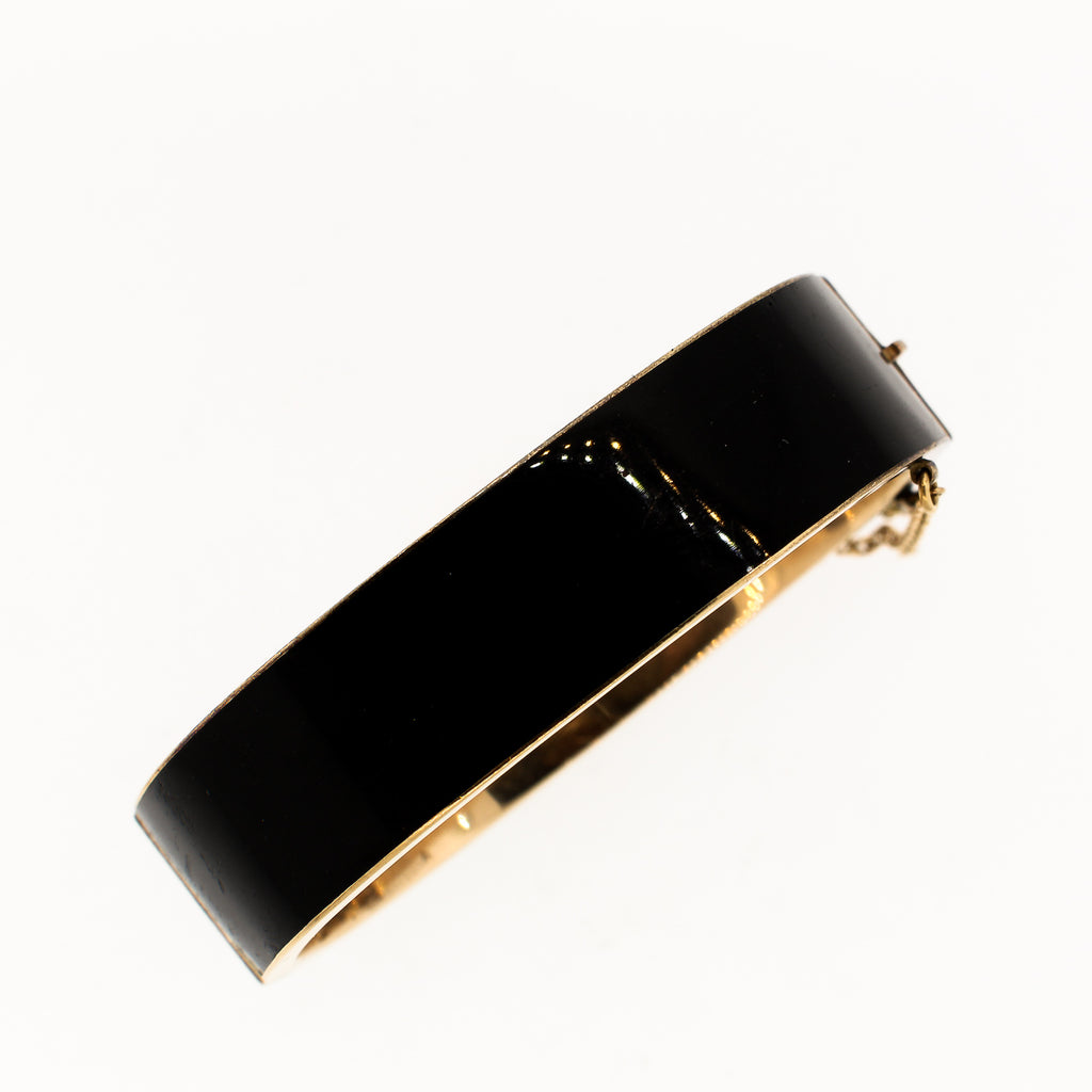 Black Enamel Victorian 14k Gold Bangle Bracelet