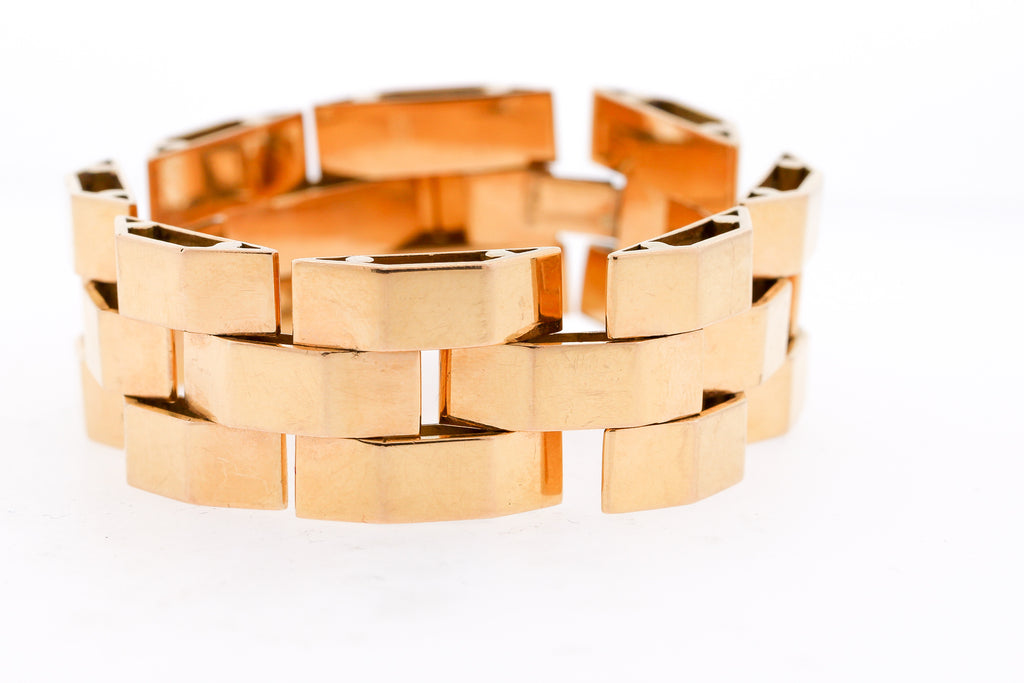 Vintage Retro French 18 Karat Rose Gold Tank Bracelet