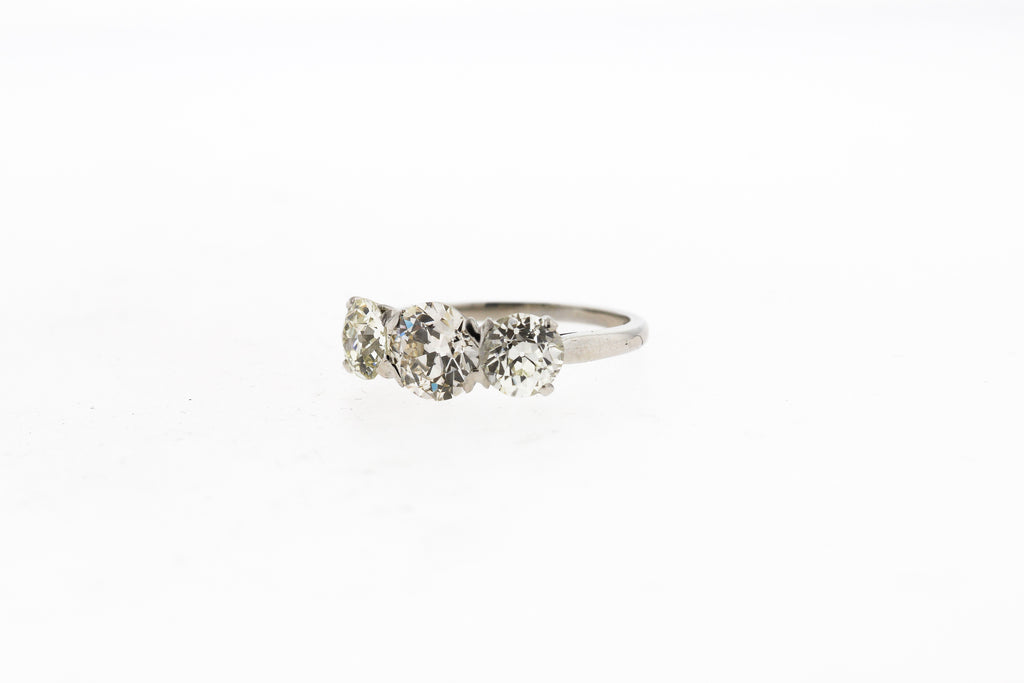 Antique 1930s Platinum Old European Cut Diamond Three Stone Ring
