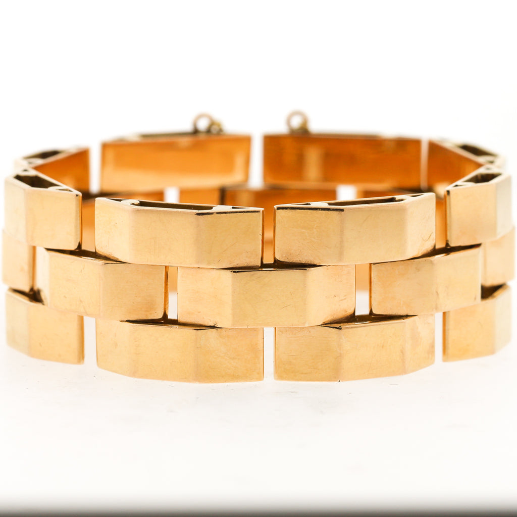 Rose 18k Gold Retro Tank Bracelet