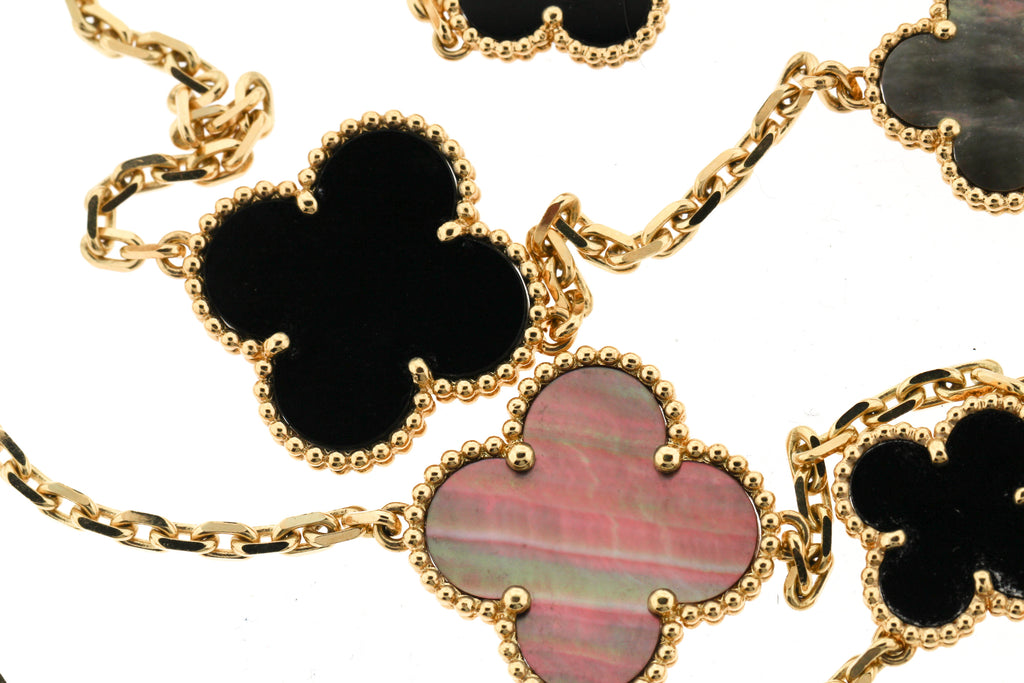Modern Van Cleef & Arpels Mother of Pearl Onyx 18k Gold Magic Alhambra Necklace