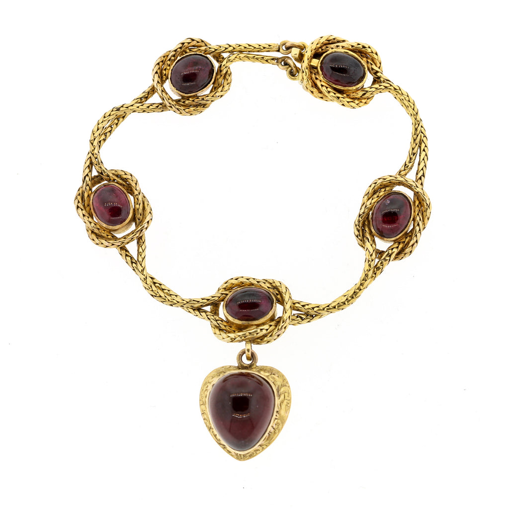 Victorian Gold Carbuncle Garnet Bracelet with Heart Pendant