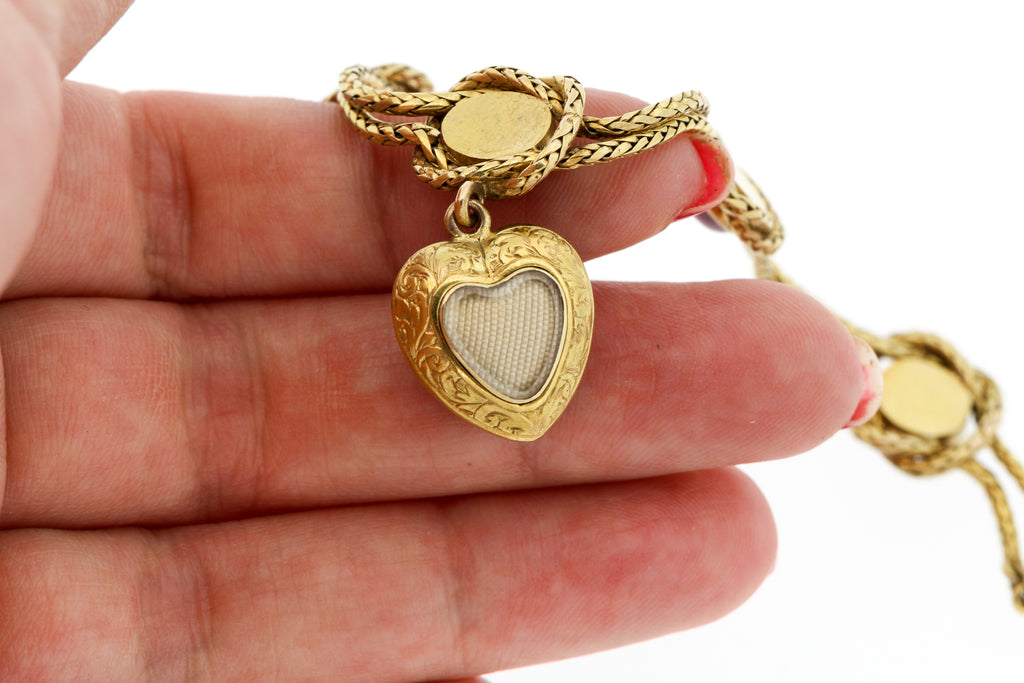 Antique Victorian 18k Gold Carbuncle Garnet Heart Bracelet