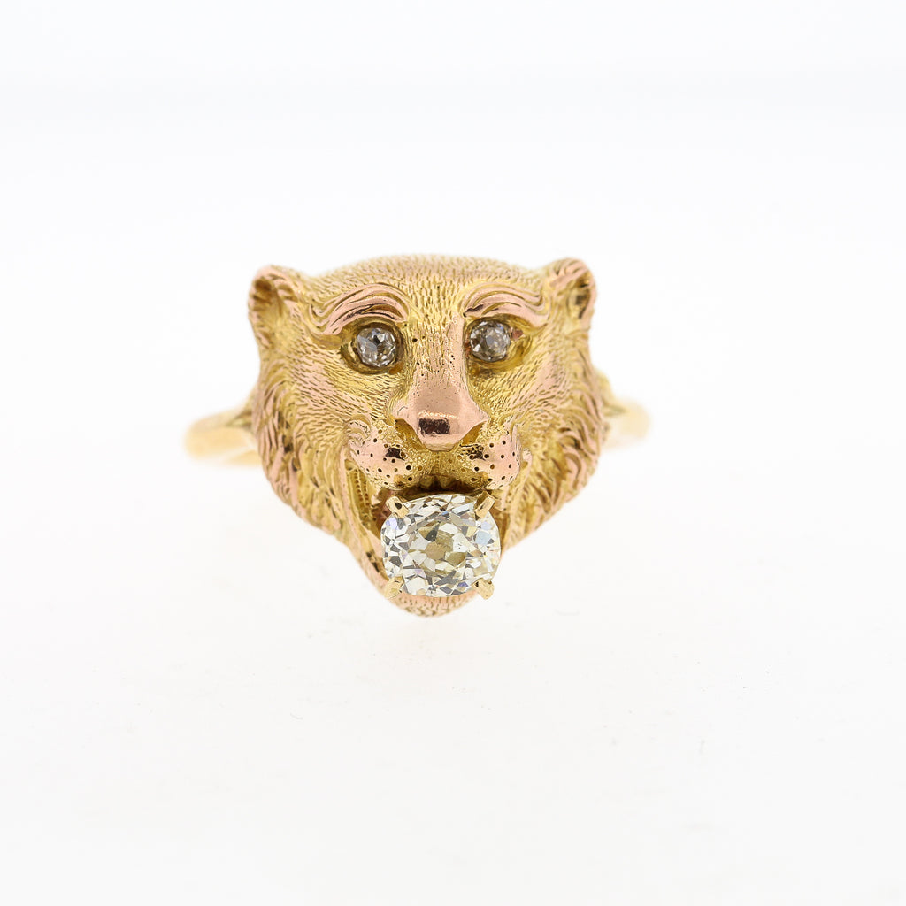 Vintage 18k Yellow Gold Lion Ring with Old Mine Cut Diamond