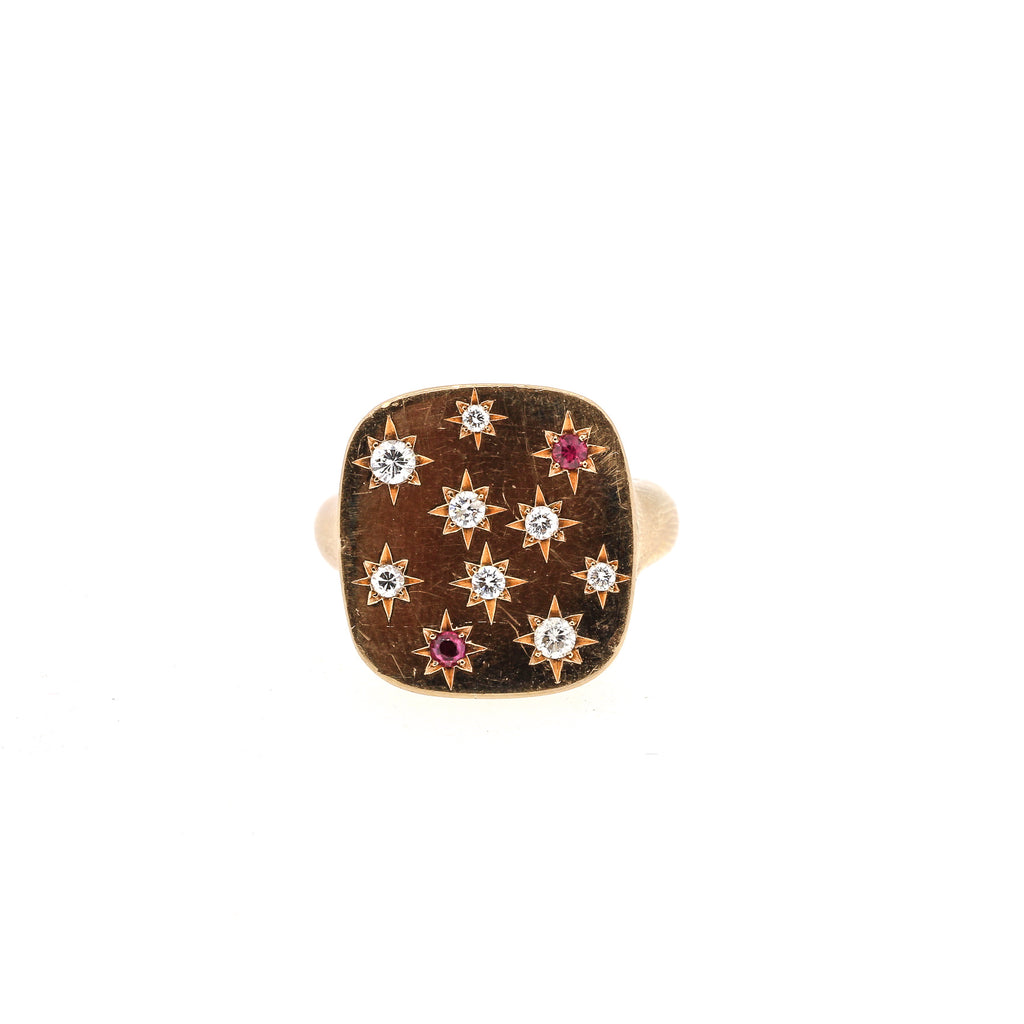 Modern 18k Rose Gold Diamond Ruby Signet Ring