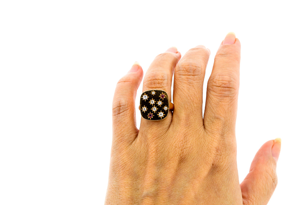 Modern 18k Rose Gold Signet Ring With Diamonds and Rubies