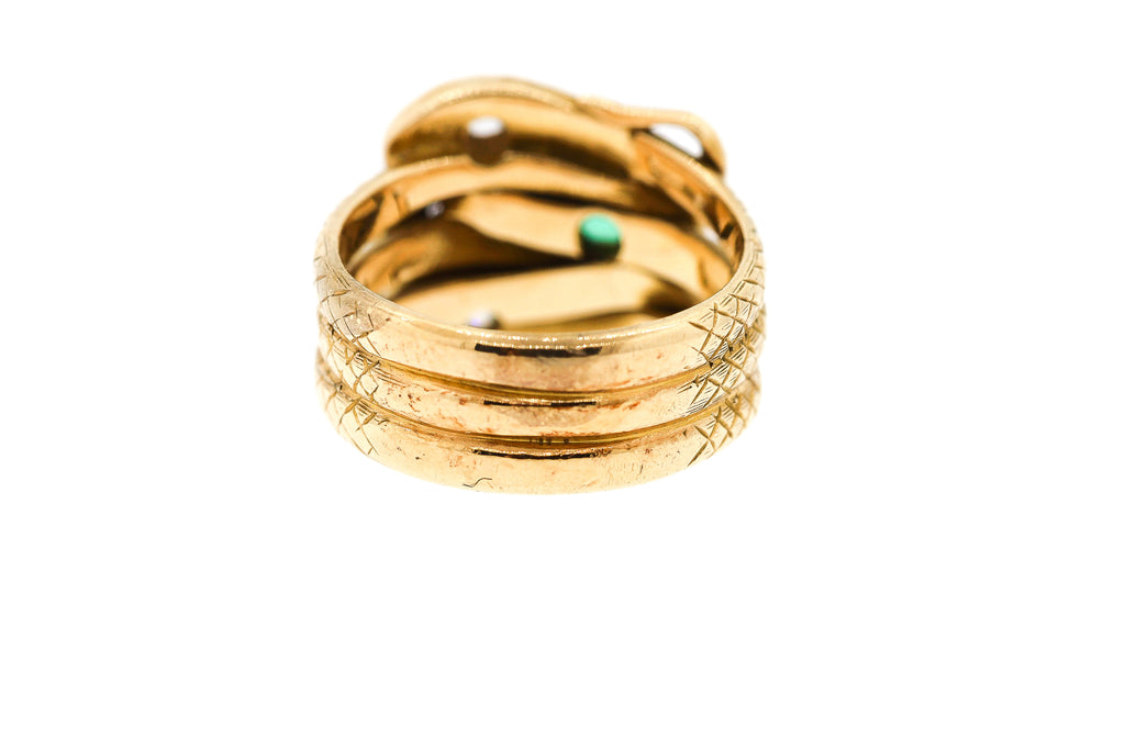 Victorian 18k Gold Diamond Emerald Engraved Triple Snake Ring