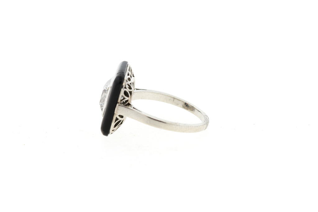 Rare Art Deco French Cut Diamond Onyx Platinum Ring