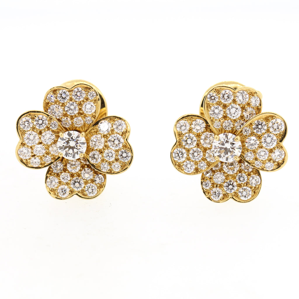 Van Cleef & Arpels Yellow Gold Diamond Cosmos Flower Earrings