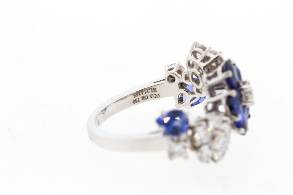 Modern Van Cleef & Arpels Sapphire Diamond Folie Des Pres Collection Ring