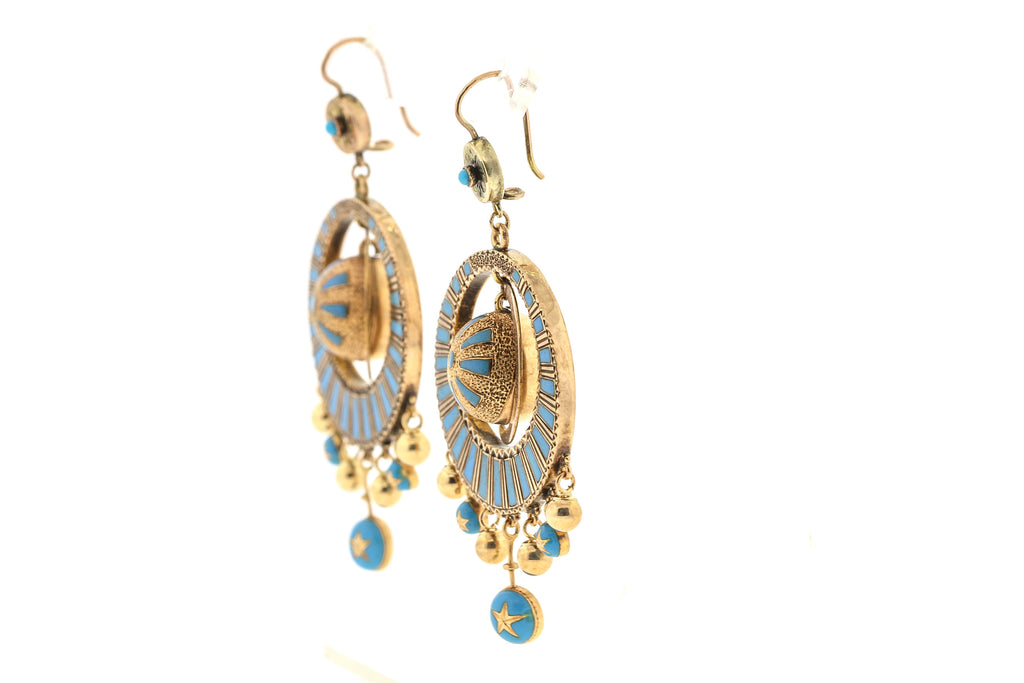 Antique Victorian 14 Karat Gold Blue Enamel Dangling Earrings
