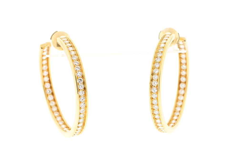 Vintage Cartier 18k Yellow Gold Diamond Inside Out Hoop Earrings
