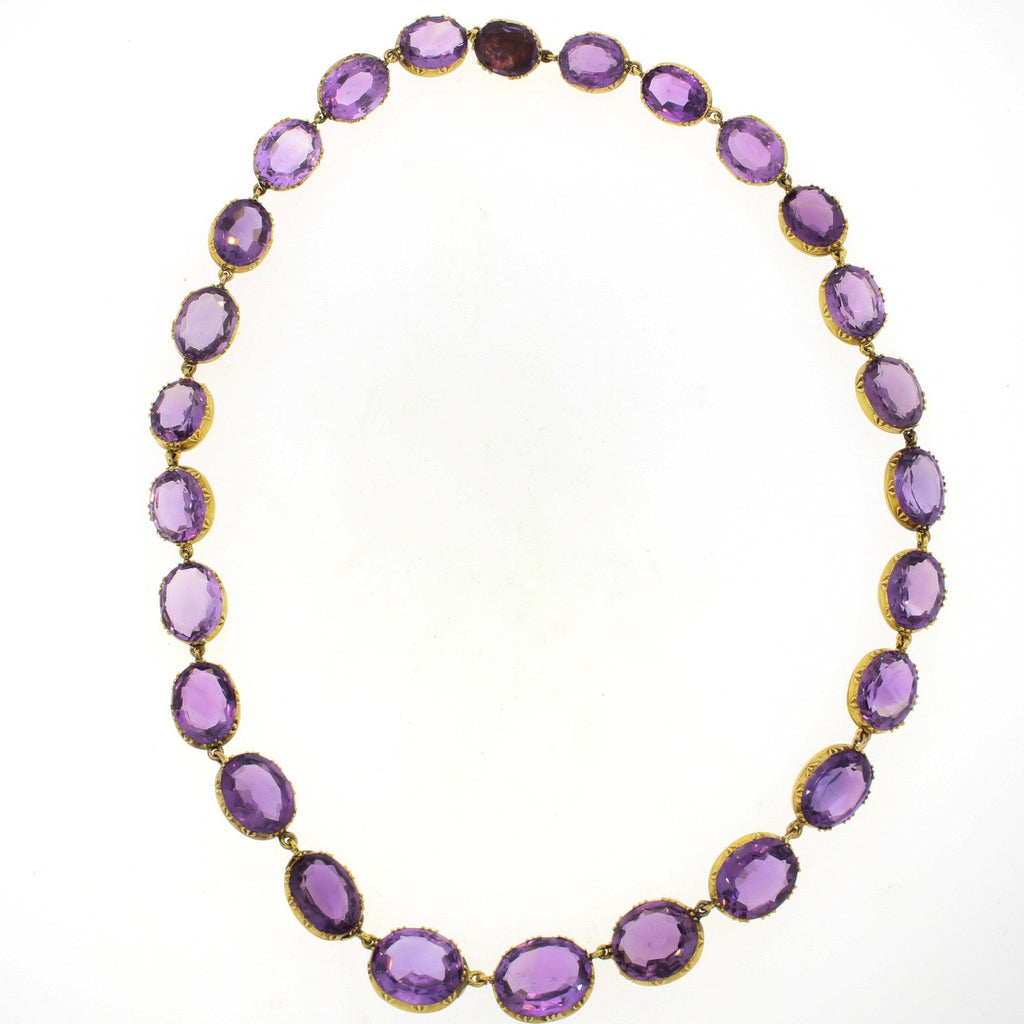 Victorian 14k Gold Amethyst Rivière Necklace
