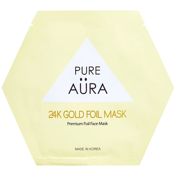 24K Gold Metallic Foil Facial Face Sheet Mask Two Pieces (top & bottom) for perfect fit - GLOW (Patented # 30-0998617-00-00)