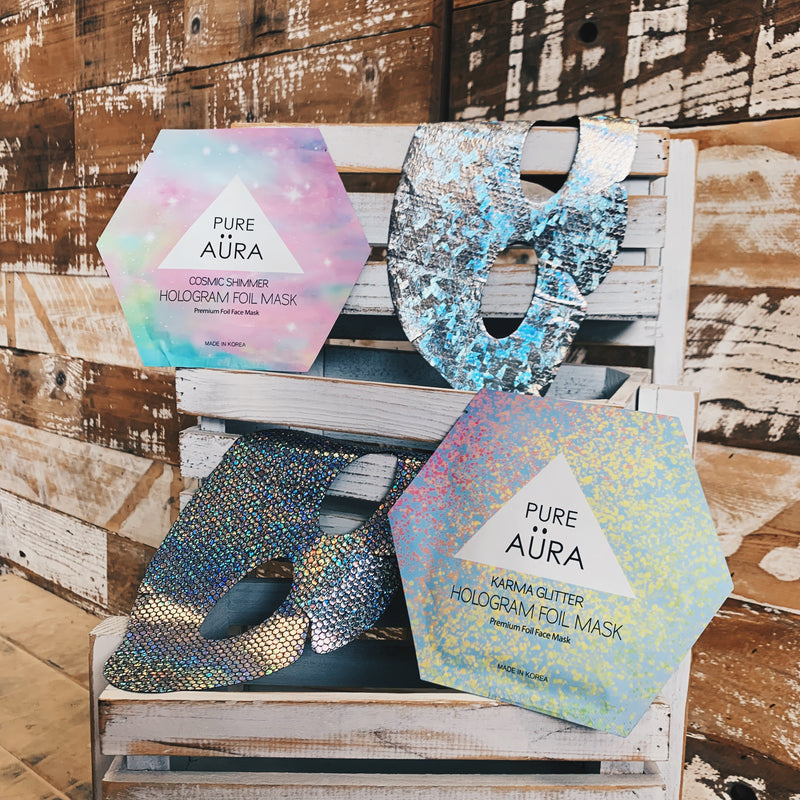 Cosmic Shimmer Foil Facial Face Sheet Mask Two Pieces (top & bottom) for perfect fit- PERK   (Patented # 30-0998617-00-00)