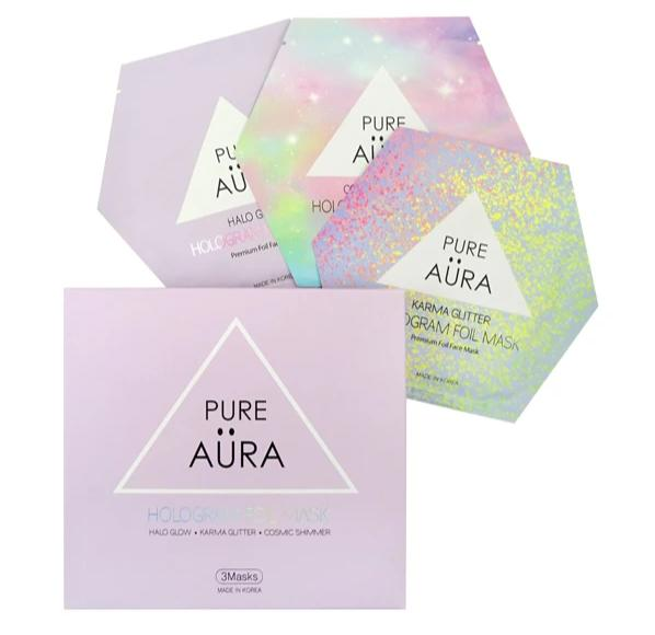 Halo Glow Hologram Foil Facial Face Sheet Mask Two Pieces (top & bottom) for perfect fit - PERK  (Patented # 30-0998617-00-00)