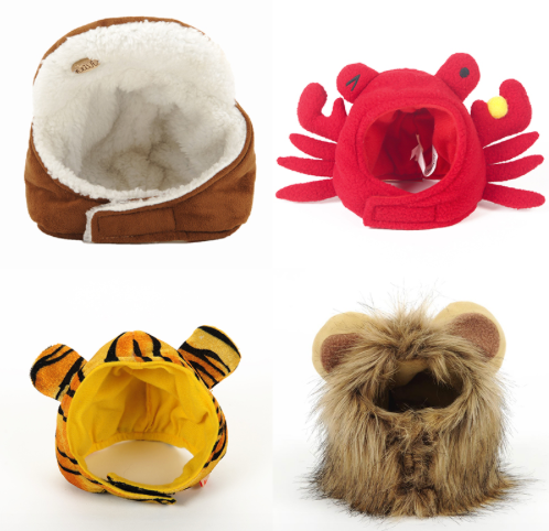 Headgear Costumes For Dogs (Lion, Crab, Tiger, Lei Feng)
