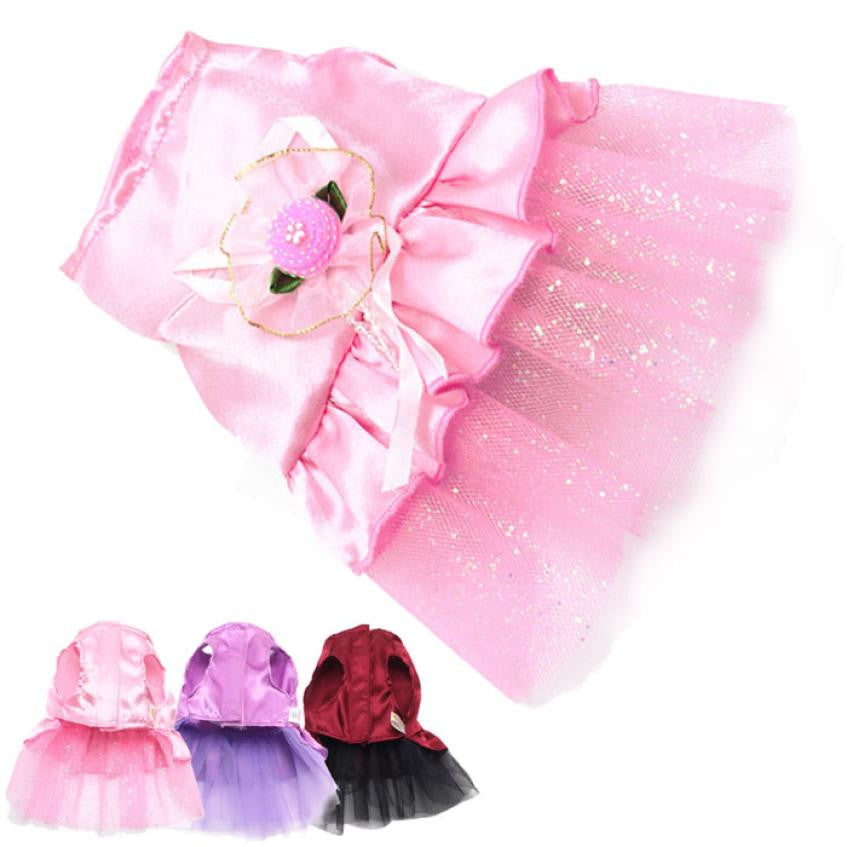 Cute Lace Flower Dress For Dogs With Bow