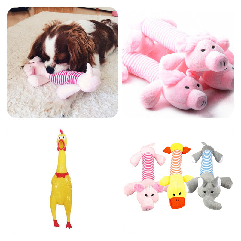 Pig, Elephant, Duck & Chicken Dog Toys