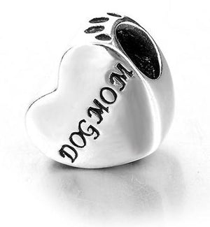 Dog Mom Pawprint Sterling Silver Charm