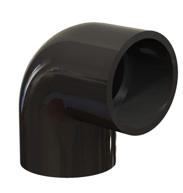 Black PVC Elbow 90 - Slip to Slip, Schedule 40