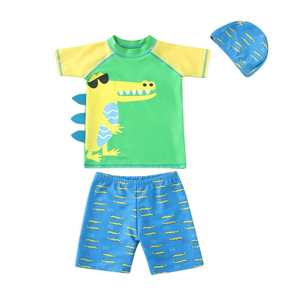 3-Piece Swimwear Dinosaur Print Rash Guard & Trunks Set