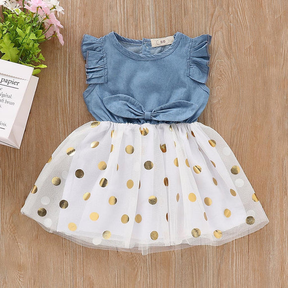 Essie & Esben Denim and Golden Polka Dot Summer Dress Baby Girl Toddler