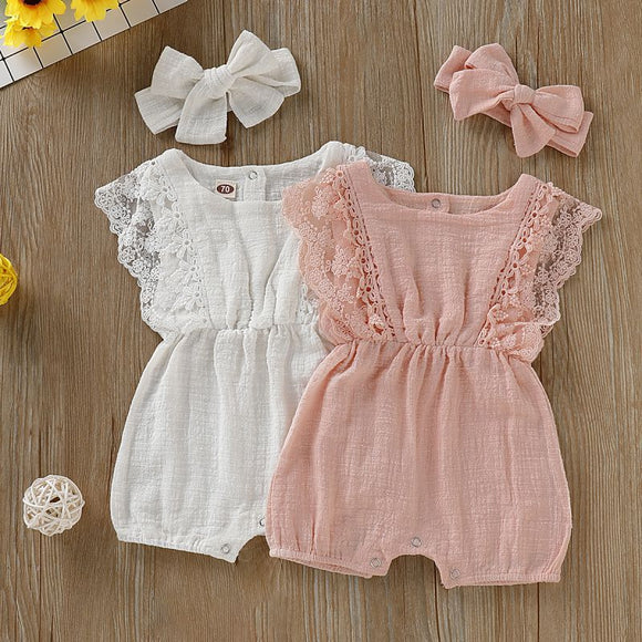 Baby Girls' Lace Jumpsuit Romper + Headband Outfit