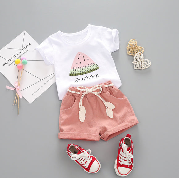 Girls Cute Watermelon Print T-shirt & Pants Summer Outfit
