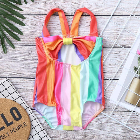 1-Piece Rainbow Color Swimsuit