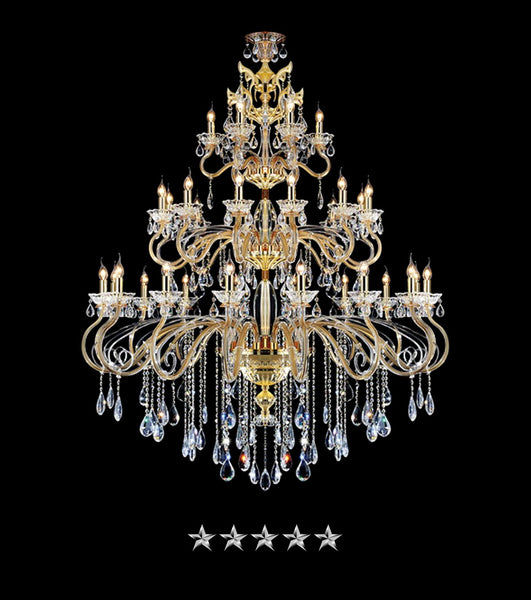 Classic Pendant Gold Crystal Chandelier - Grand Entrance Chandelier