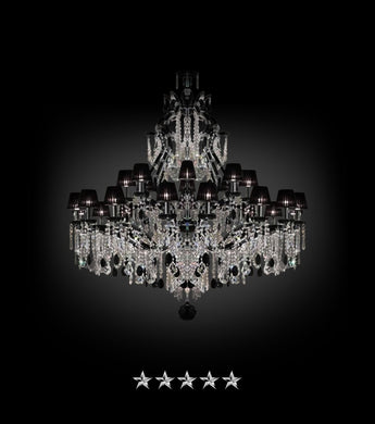 Maria Theresa Ablaze Black Shade Chandelier - Grand Entrance Chandelier