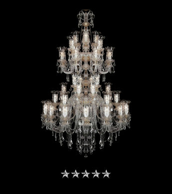 Large Etched Antique Crystal Chandelier - Grand Entrance Chandelier