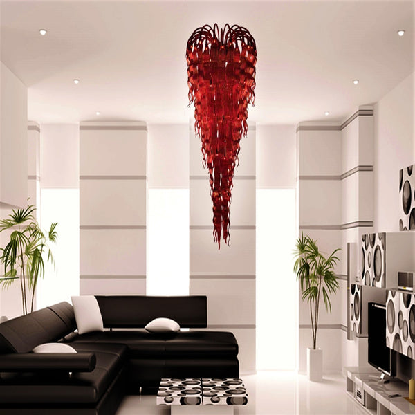 Red Flame Blown Crystal Chandelier - Grand Entrance Chandelier