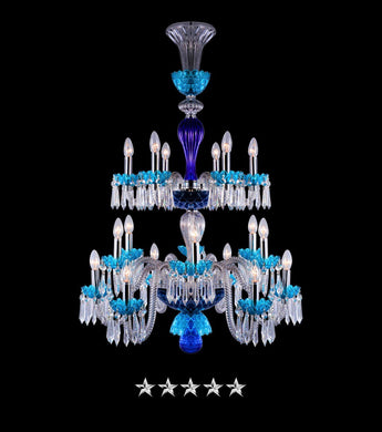 Sky Blue Saint Louis Crystal 18 Light Chandelier - Grand Entrance Chandelier
