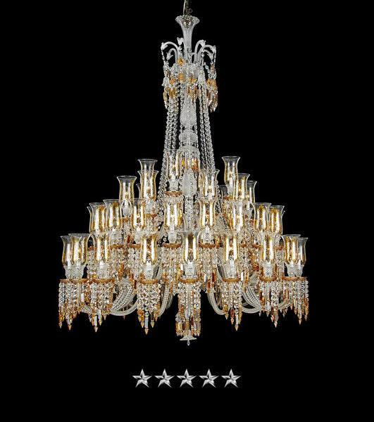 Majestic Tiered Amber Crystal Chandelier - Grand Entrance Chandelier