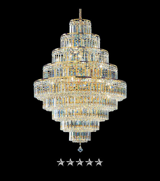 Golden Crystal Cascade Empire Chandelier - Grand Entrance Chandelier