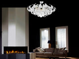 White Calista 17 Light Crystal Flush Lamp - Grand Entrance Chandelier