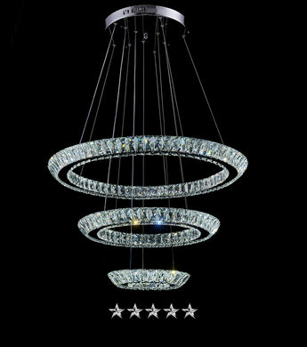 Triple Tiered Halo Ring Crystal Chandelier - Grand Entrance Chandelier