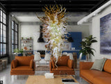 Frosted Amber Shell Hand Blown Glass Chandelier - Grand Entrance Chandelier