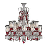 24 Light Double Tier Red Crystal Chandelier - Grand Entrance Chandelier