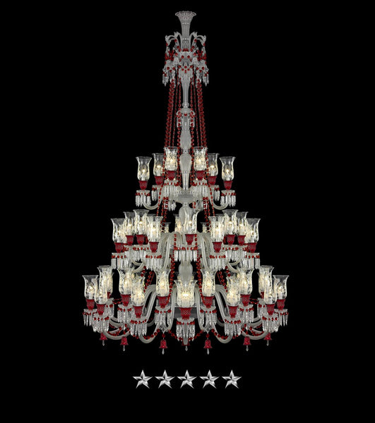 48 Light Multi Tier Red Crystal Chandelier - Grand Entrance Chandelier