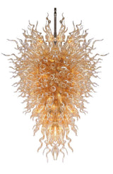 Flamed Peacock Hand Blown Glass Chandelier - Grand Entrance Chandelier
