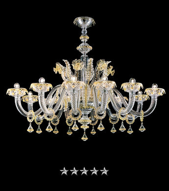 Golden Crystal Grand Murano Chandelier - Grand Entrance Chandelier