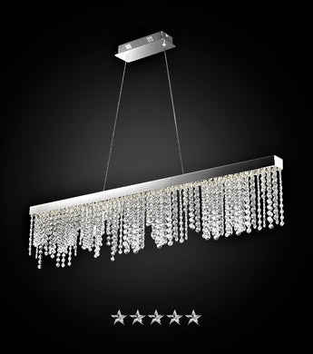 Single Row Gold Drop Crystal Chandelier - Grand Entrance Chandelier