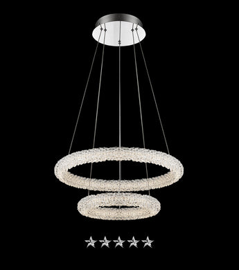 Dual Frosted Ring Crystal Chandelier - Grand Entrance Chandelier