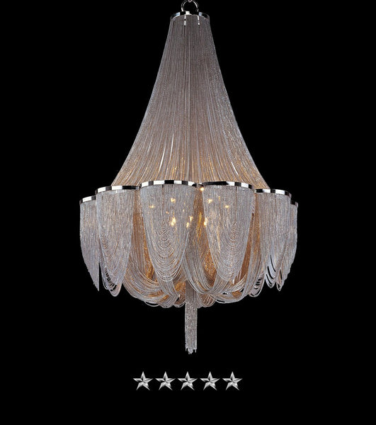Interlaced Satin Nickle Chandelier - Grand Entrance Chandelier